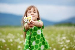 Child at camomile field